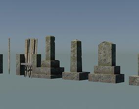 3D model Japanese Gravestones