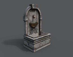 3D asset low-poly PBR Fountain