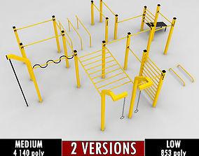 Street workout park gym low poly 3D asset