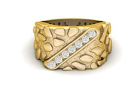 Gents Diamond Nugget Ring 03 3D print model