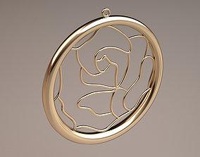 gold circle flower necklace 3D print model