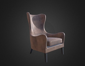 3D model Garbo Leather Wingback Chair