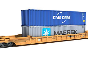 Railroad Double Stack Car 3D