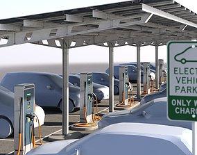 Solar battery charging parking 3D