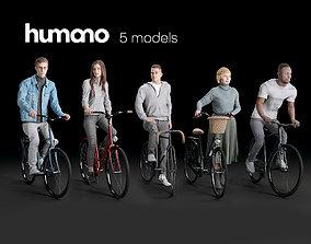 Humano 5-PACK - PEOPLE - BIKING RIDING BIKE - 5x 3