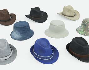 3D asset Set of Men Hats