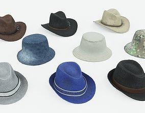 3D model Set of Mens Hats