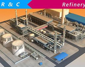 Refinery 3D asset low-poly exterior