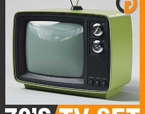 Retro 70s Television Set 3D model