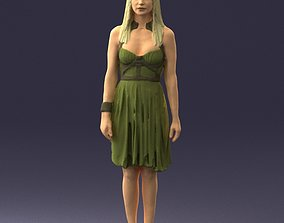 Blonde woman in green dress 0204 3D Print Ready