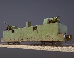 3D asset Armored Train PL-37 Railway Light Artillery