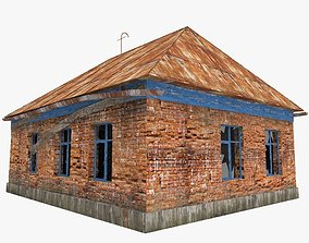3D model old Russian abandoned brick house