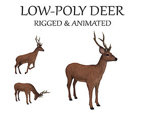 3D asset deer buck doe reindeer stag