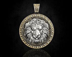 Lion head pendant 3D print model sterling