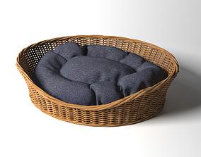 Willow Dog Cat Pet Wicker Basket 3D model Pet