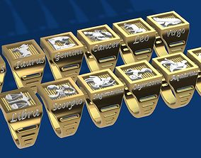 Zodiac COMPLETE SET of 12 ring 3D printable model