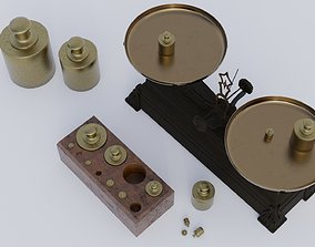 3D model Rigged vintage balance scale with