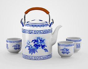 3D model Chinese Blue and White Porcelain Tea Set - 2
