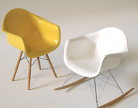 3D asset White and Yellow Chairs