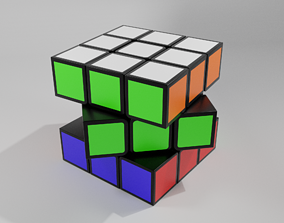 3D asset Rubiks cube 3 by 3 disassembled