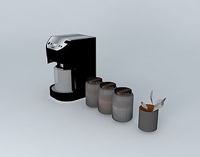 Coffee maker with jars and spoons 3D