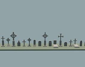 Low poly gravestones 3D asset