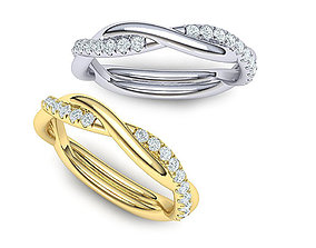 rope style diamond twisted band ring 3dmodel