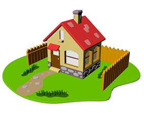 House cartoon 3D model low-poly
