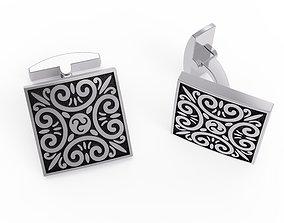 Cufflinks with ornament 3D print model