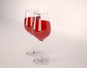 3D martini Wine Glass
