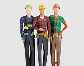 3D model low-poly Construction Men