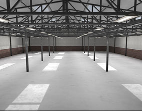 3D model Large Empty Industrial Warehouse