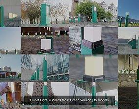 Street Light 8 Bollard Moss Green Version 3D model