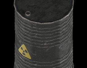 radiation danger oil barrel 3D asset low-poly