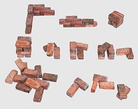 Red Bricks Pack Low-poly and Photoscanned 3D asset