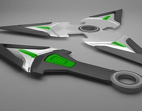 3D model overwatch genji shuriken and kunai
