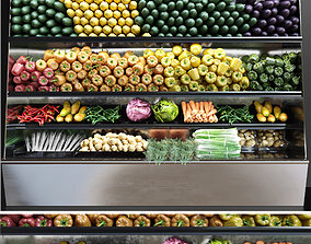 Showcase with vegetables 3D