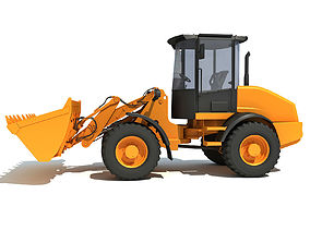 Yellow Wheel Loader grader 3D model
