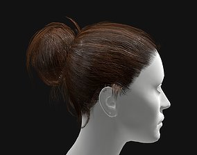 3D Hair Female Straight Bun Hairstyle realtime