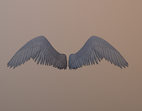3D asset low-poly Angel Wings