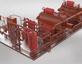 Industrial boiler room 3D model