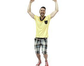3D model Cheering Happy Man Wearing Yellow T-Shirt