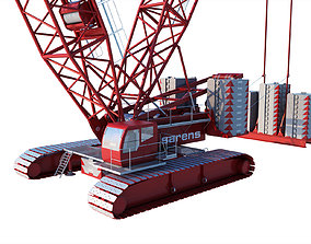 3D model industrial CRAWLER MINING CRANE