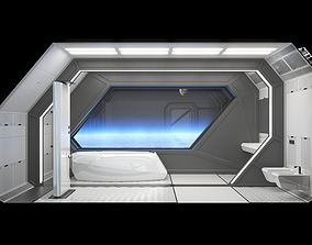 Spaceship Bathroom Interior Scene 3D