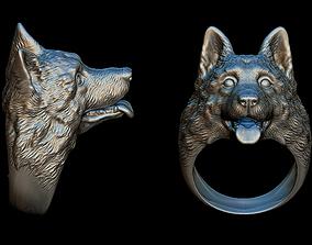 3D printable model German Shepherd ring