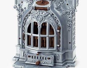 Antique Fireplace Lent Moyen Vif Salamandre 3D model