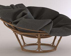 Round wicker armchair 3D model