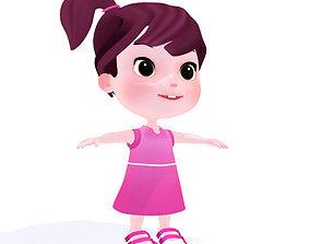 Cartoon girl 3D asset