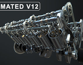 3D V12 Engine Working Animated speed