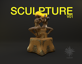 3D model Abstract Sculpture V01 with stand HIGH Poly